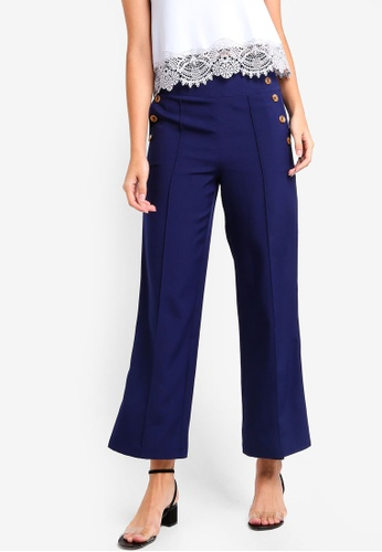 ZALORA navy Wide Leg Trousers With Buttons Details 26E7CAA9DD7916GS_1