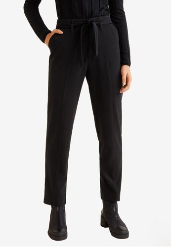 Mango black Belt Straight-Fit Trousers 76F2EAA2B08B44GS_1