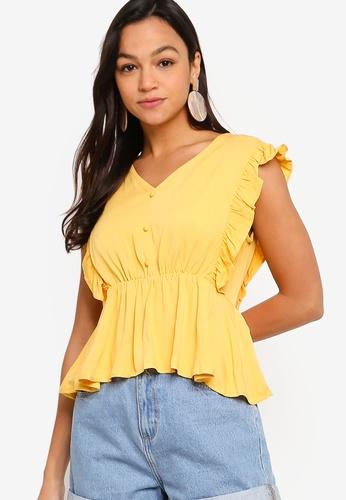 Something Borrowed yellow Ruffle V-Neck Babydoll Top 5CE84AA42FB83DGS_1