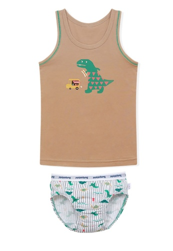Chica Chico white and green and brown Greendino Boy Underset 5B5ECKAF9576CAGS_1