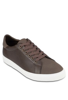 Faux Leather Perforated Sneakers