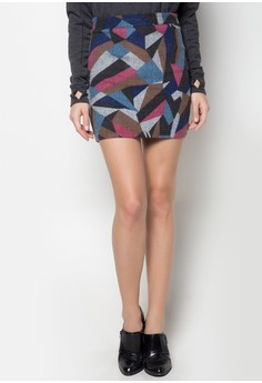 Geometric Print Wool Skirt