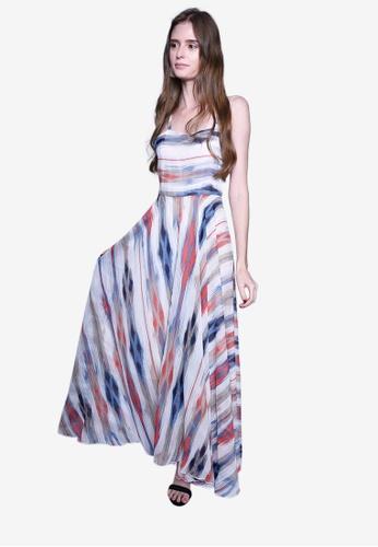 Caoros blue Watercolor Print Maxi Dress 47BECAA0375CE5GS_1