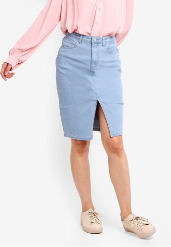ZALORA BASICS blue Basic Denim Front Slit Skirt 2471FAA4AC50E7GS_1