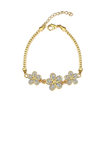 Glamorousky white Fashion Romantic Plated Gold Flower Cubic Zircon Bracelet 8434EAC9BA4556GS_1