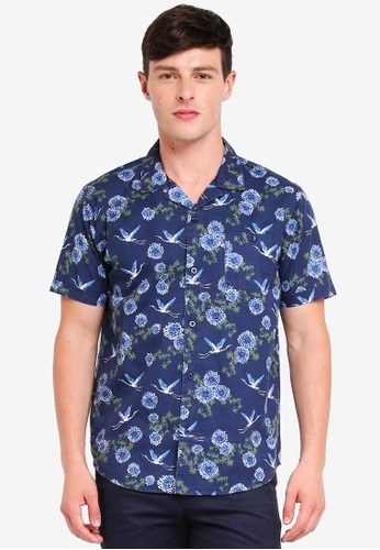 Brave Soul navy Short Sleeve Button Shirt 7767AAAC2D82BCGS_1