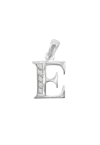 """Silverworks silver Andy Silver Letter """"E"""" Charm with Zirconia Stones 5540EAC3B67C8FGS_1"""