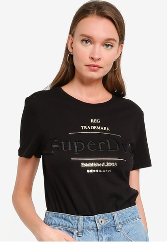 Superdry black Established Tee 99EBEAA3E1F29FGS_1