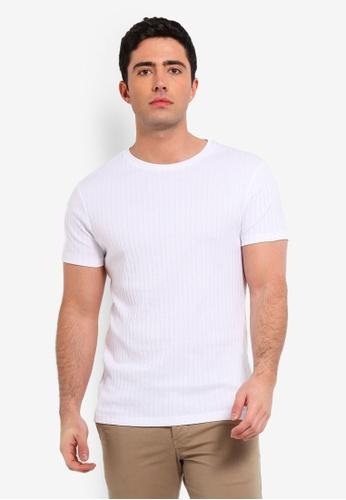 Burton Menswear London 白色 短袖羅紋T恤 21D6EAAE85B342GS_1
