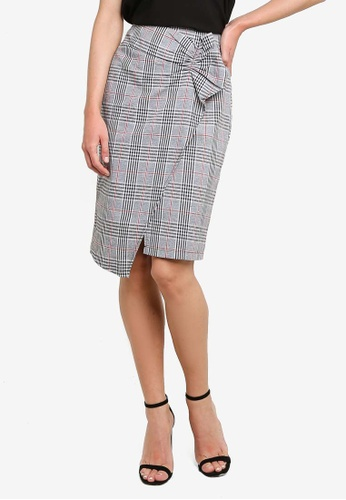 ZALORA grey and multi Ruffle Detail Fitted Skirt 31673AA4F485D3GS_1