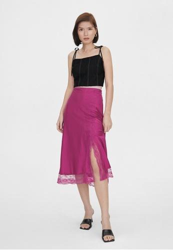 Pomelo purple Hemline Lace A Line Skirt - Magenta 385B8AAD1F18A2GS_1