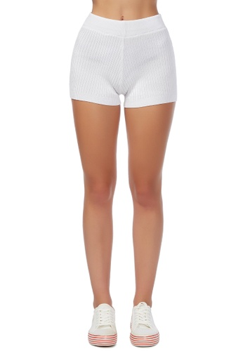 London Rag white Love to Stay in White Knitted Shorts B124EAA01C502DGS_1