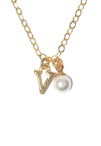 PSYNDROME gold Personalised Initial Letter Alphabet with Pearl Necklace - V BC407ACE320942GS_1