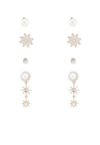 Red's Revenge gold 4-In-1 Shining Stars Dangle & Studs Earrings Set E179FAC88C5A20GS_1