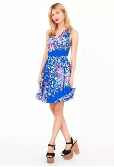 V-Neck Print Sleeveless Pleated Dress
