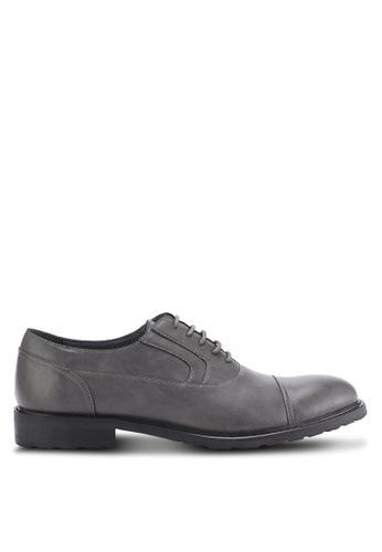 ZALORA grey Faux Leather Business Dress Shoes 48517AA6820344GS_1