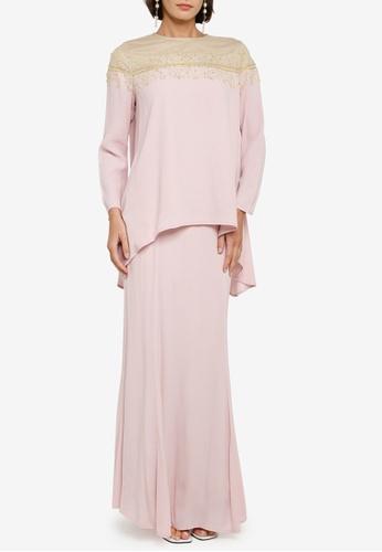 Zalia pink Hi-lo Kurung Kedah With Lace Set 67B25AA28EDAD8GS_1