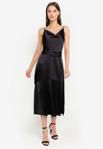 ZALORA OCCASION black Draped Bias Neckline Midi Dress With High Slit D6B7AAA97F616AGS_1