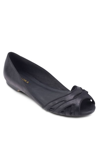 滾邊露趾鏤空平底esprit女裝鞋, 女鞋, 鞋