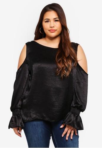 ELVI black Plus Size Ingrid Cold Shoulder Blouse In Moire Satin 4714CAAE340C0FGS_1