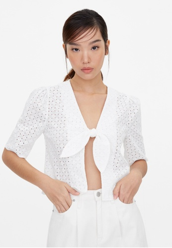 Pomelo white Purpose Tied Eyelet Crop Blouse - White 70A4AAA8A84651GS_1