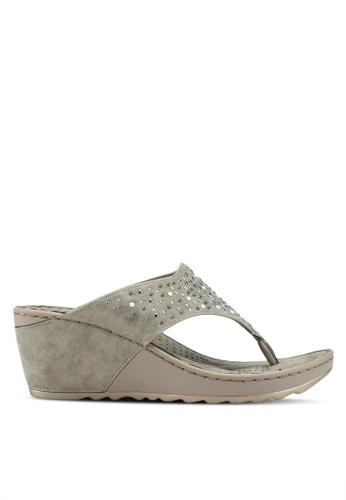Bata 褐色 鑽飾夾腳楔型涼鞋 9976DSHC183670GS_1