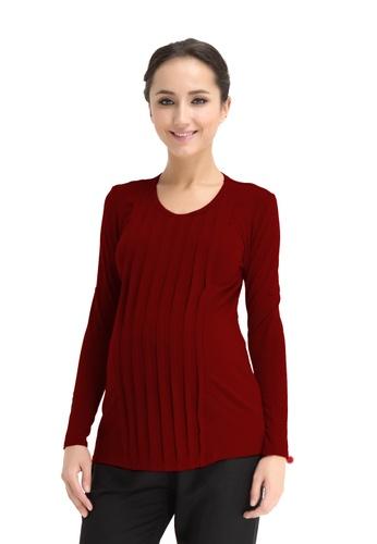 Bove by Spring Maternity red Knitted Long Sleeve Venus Pleat Row Top Maroon LTN2905 BO010AA0FNXTSG_1