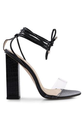 Public Desire 黑色 綁帶粗跟鞋 86767SH1318847GS_1
