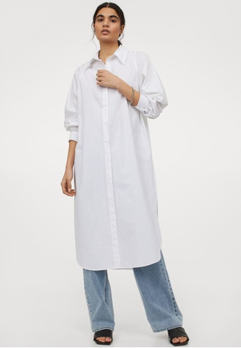 H&M white Cotton Shirt Dress 4D622AA83FB3D5GS_1