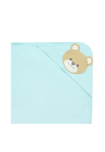 Kingkow blue Bear Pattern Cotton Blanket DAE9EKC7B9695EGS_1