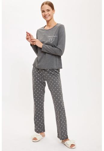 DeFacto grey Woman 2-pieces Homewear Top & Bottom Set 9240EAAF352E49GS_1