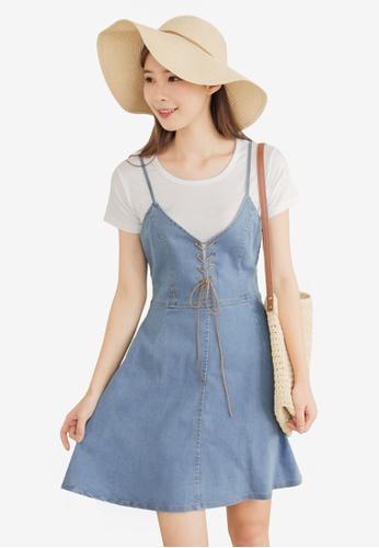 Eyescream blue 2-Piece Denim Lace-Up Dress 10A95AA2C1936BGS_1