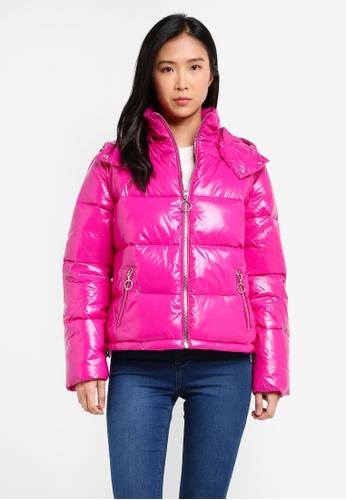 Miss Selfridge pink Pink Wet Look Puffer Jacket MI665AA0SISPMY_1