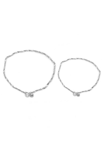Elfi silver Elfi 925 Genuine Solid Silver Wave Hearts Bracelet Anklet Set SBA-06 EL186AC37NGWMY_1