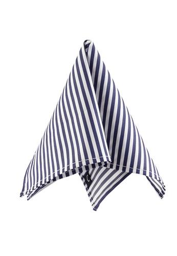 Caveman navy Satin Navy Stripe Pocket Square 4CE2AAC4A67051GS_1