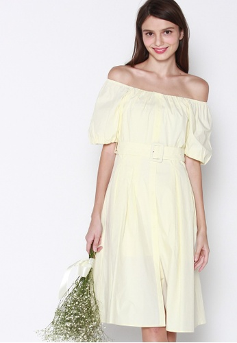 JOVET yellow Puff Sleeved Dress With Belt F2AADAAC26DBE7GS_1