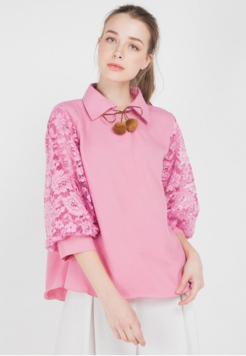 AliveLoveArts pink and multi Oscar Lace Blouse 64175AAE51B795GS_1