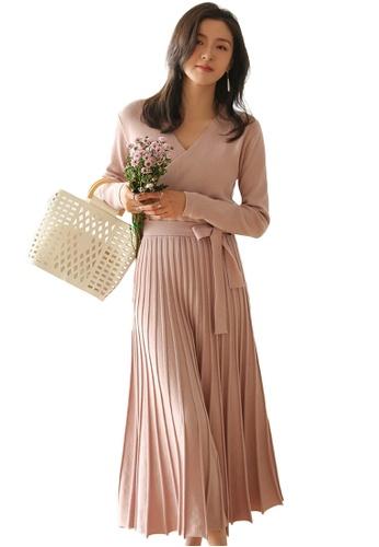 Sunnydaysweety 粉紅色 收腰百褶大擺針織連身裙 A092209PI EC8FAAAA1108E0GS_1