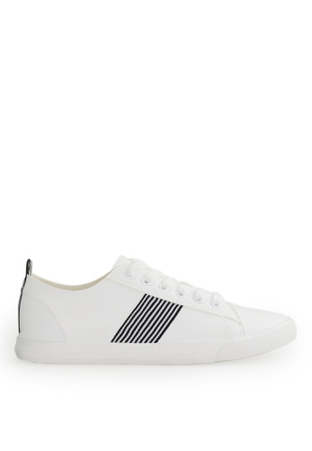 Footspot white FOOTSPOT - Black and White Ribbon Lace-up Casual Shoes 39E9BSHBABEE99GS_1