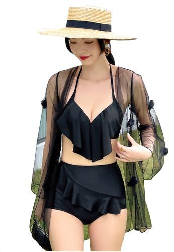 A-IN GIRLS black (3PCS) Sexy Gauze Bikini Swimsuit B071EUS5FA7F1DGS_1