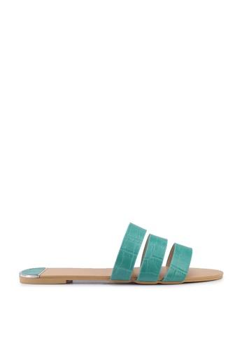 nose 綠色 Mock Croco Flat Slides 7C912SH1F6E104GS_1