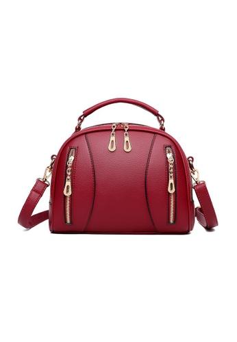 Lara red Women's PU Leather Multi-pockets Zipper Cross-body Bag Handbag - Wine Red 69401AC8C180A0GS_1