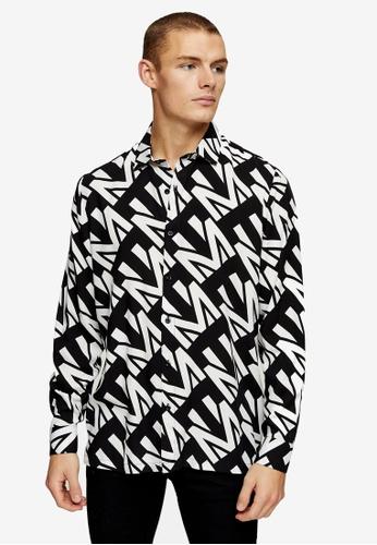 Topman black Black Topman Monogram Long Sleeves Shirt 9F319AA3A2C02FGS_1