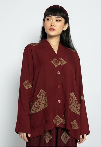 OEMAH ETNIK red and gold Red Prada Long Sleeve Shirt FC07CAA8945E69GS_1