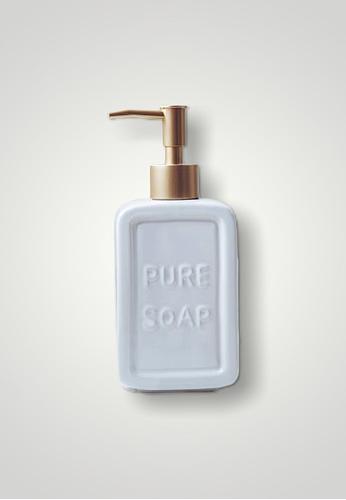 Ayra Home & Living white White Ceramic Pure Soap Embossed Soap Dispenser 8F1F5HL17E5F69GS_1