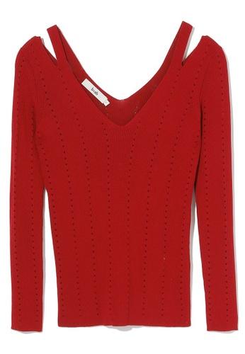 b+ab red Shoulder cutout knit top 3664DAAA9D1649GS_1