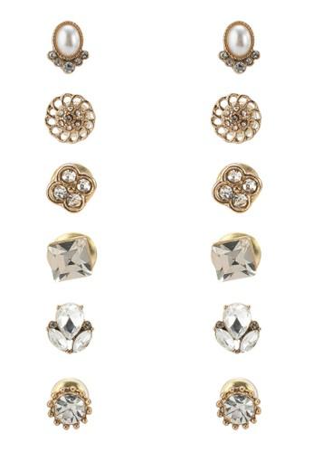 Fortgang zalora 台灣六入閃鑽造型耳環, 飾品配件, 飾品配件