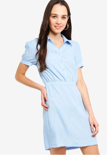 Something Borrowed 藍色 修身喇叭裙襯衫洋裝 9F395AA7B50A32GS_1