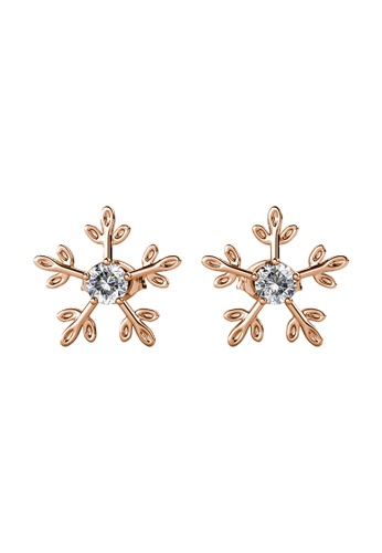 Her Jewellery gold Twinkle Flakes Earrings (Rose Gold) - Made with Premium grade crystals from Austria 023BBACFCB3EFDGS_1