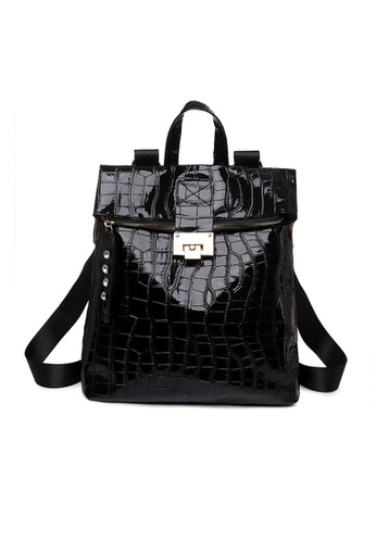 Lara black Women's Water Repellent Breathable Wear-resistant Embossed PU Leather Zipper Backpack - Black E1816ACF3C5418GS_1